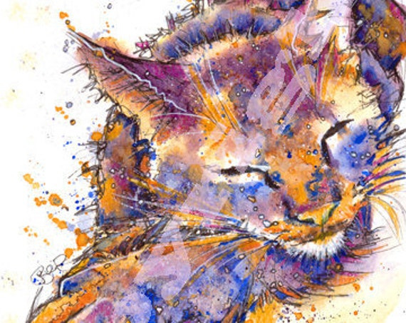 CAT PRINT of Watercolour Painting, Mothers Day Art Gift, Animal Lover Illustration, Wall Hanging, Pet Memory, Cat Portrait Picture.