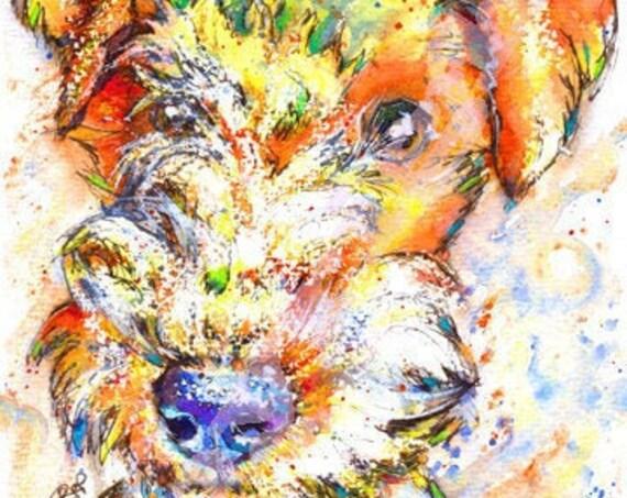 LAKELAND Terrier Print Picture Original Watercolour Dog Painting Hound Art Gift Artwork Pup Illustration Wall Art. Dog Lover. Pet Loss.