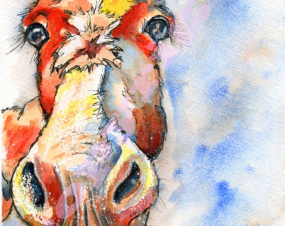 DONKEY PRINT Jack Ass BURRO of Original Watercolour Painting Watercolor Animal Picture Art by Josie P.