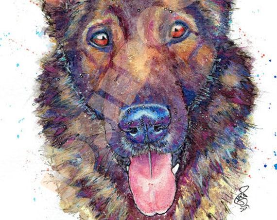 GERMAN SHEPHERD PRINT of Original Watercolour Painting Watercolor Animal Alsatian Picture Art by Josie P.