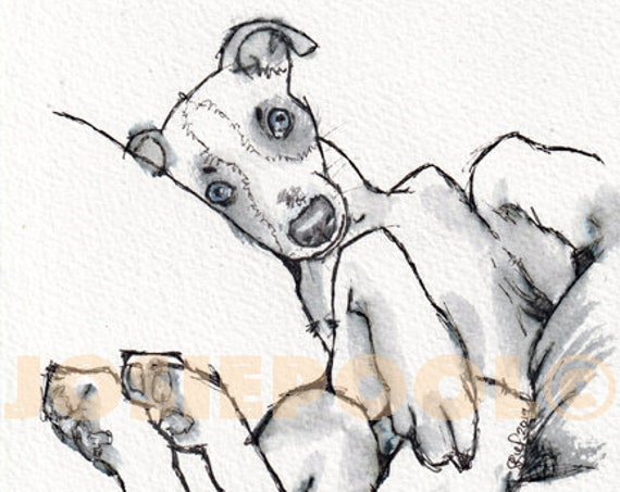 WHIPPET PRINT of Ink & Wash Painting Picture Dog Painting Wall Art Illustration Artwork Portrait Sighthound by Artist Josie P JapeyArtnStuff
