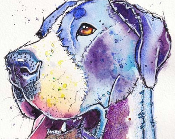 A3 size GREAT DANE PRINT of Original Watercolour Dog Painting. Watercolor Art Picture of Hound Dog Pup by Josie P.