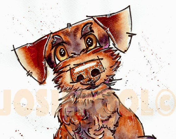 CARTOON PRINT of Labradoodle from Original Watercolour Watercolor Dog Painting Art Picture Pup  by Josie P. 3 sizes available.
