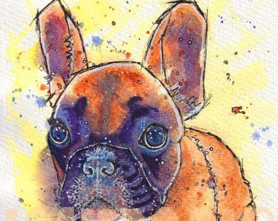 FRENCH BULLDOG PRINT of Original Watercolour Painting Frenchie Watercolor Dog Puppy Picture Artwork Gift Art by Josie P