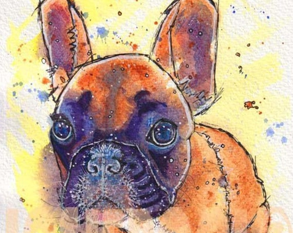 A3 size FRENCH BULLDOG PRINT of Original Watercolour Painting Frenchie Watercolor Dog Puppy Picture Artwork Gift Art by Josie P