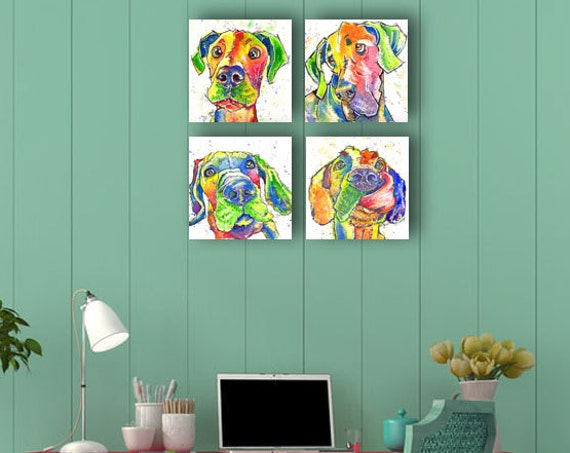 Great Dane Set of Four Box Framed Canvas Prints of Original Watercolour Watercolor Picture Art Painting by Josie P. UK ONLY
