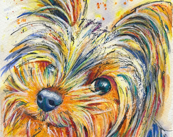 YORKSHIRE TERRIER PRINT of Original Watercolour Dog Painting Puppy Art Gift Illustration Portrait Wall Hanging Pet Memory by Josie P.