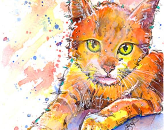 CAT PRINT of Original Watercolour Painting Watercolor  Painting Art Artwork by Josie P.