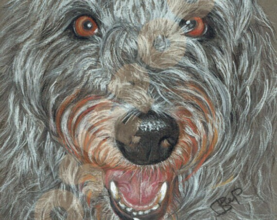 Lurcher Print of Original Pastel Painting Dog Artwork Picture by Josie P. Various Sizes