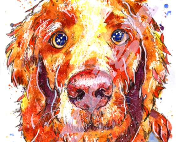 GOLDEN RETRIEVER Print of Original Watercolour Painting  Dog Picture by Josie P.