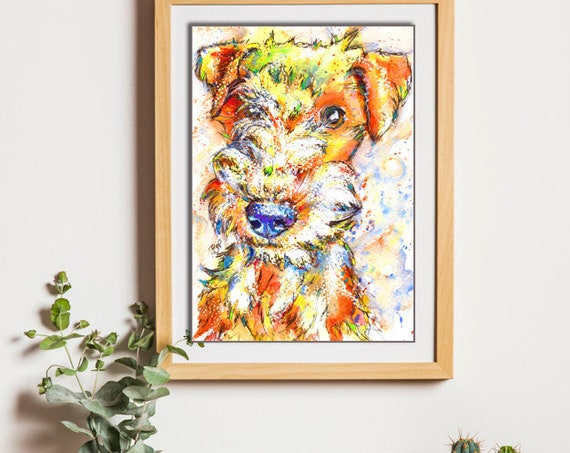 LAKELAND Terrier Print Picture Original Watercolour Dog Painting Hound Art Gift Artwork Pup Illustration Wall Art. Dog Lover. Pet Loss.