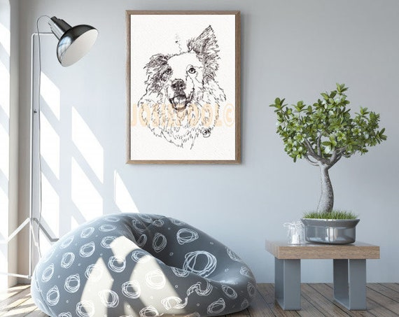 BORDER COLLIE PRINT Picture Dog Painting of Original Ink Single Line Drawing Art Sheepdog by Josie P JaPeyArtnStuff.