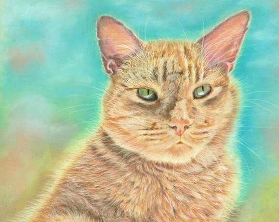 CAT PRINT of Original Pastel Painting Drawing Ocilot Art Artwork by Josie P.