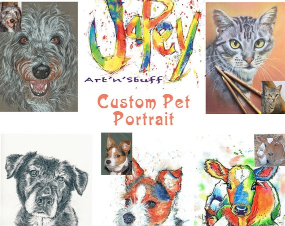 CUSTOM PET PORTRAIT in watercolour, pencil or pastel from your photographs. Scroll down for more information. United Kingdom Only