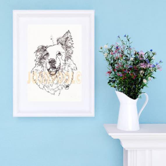 BORDER COLLIE PRINT Picture Dog Painting of Original Ink Single Line Drawing Art Sheepdog by Josie P JaPeyArtnStuff.