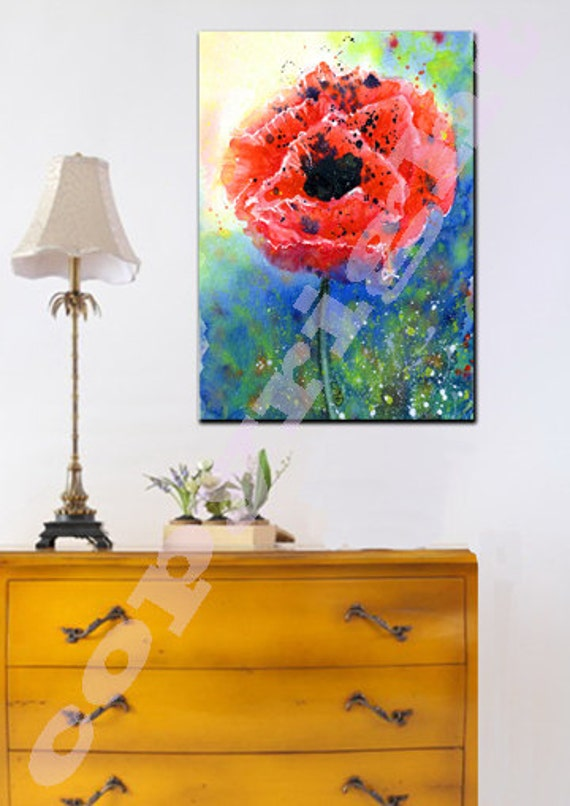POPPY A1 or A2 Boxed Canvas Print of Original Watercolour Poppy Flower Painting by Josie P. UK only.