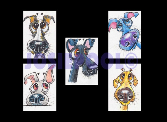 Set of 5 ACEO WHIPPETS Cartoon Prints. Ready Mounted. Art Gift, Animal Lover, Illustrations, Dog Portraits, Wall Hanging, Picture.
