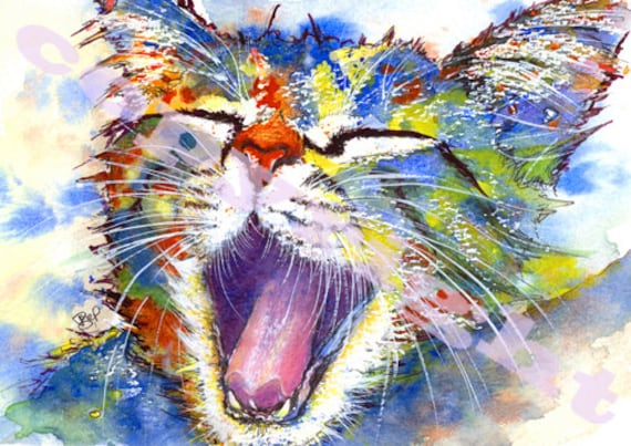 Cat Kitten PRINT of Original Watercolour Painting by Josie P