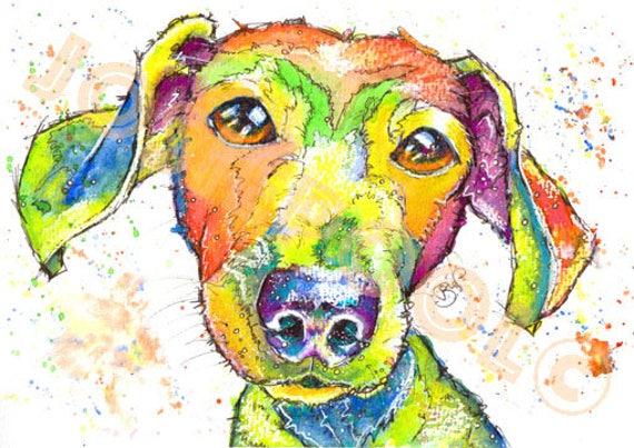DACHSHUND PRINT of Original Watercolour Sausage Weiner Dog Painting Watercolor Pup Puppy Artwork Gift Art by Josie P.