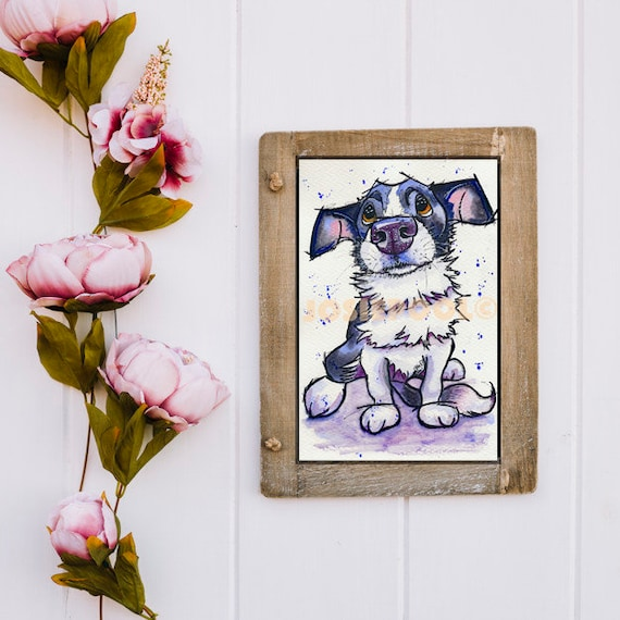 CARTOON PRINT of Border Collie from Original Watercolour Watercolor Dog Painting Art Picture Pup  by Josie P. 4 sizes available.