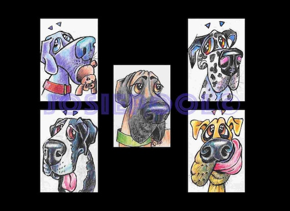 Set of 5 ACEO GREAT DANE Cartoon Prints. Ready Mounted. Art Gift, Animal Lover, Illustrations, Dog Portraits, Wall Hanging, Picture.