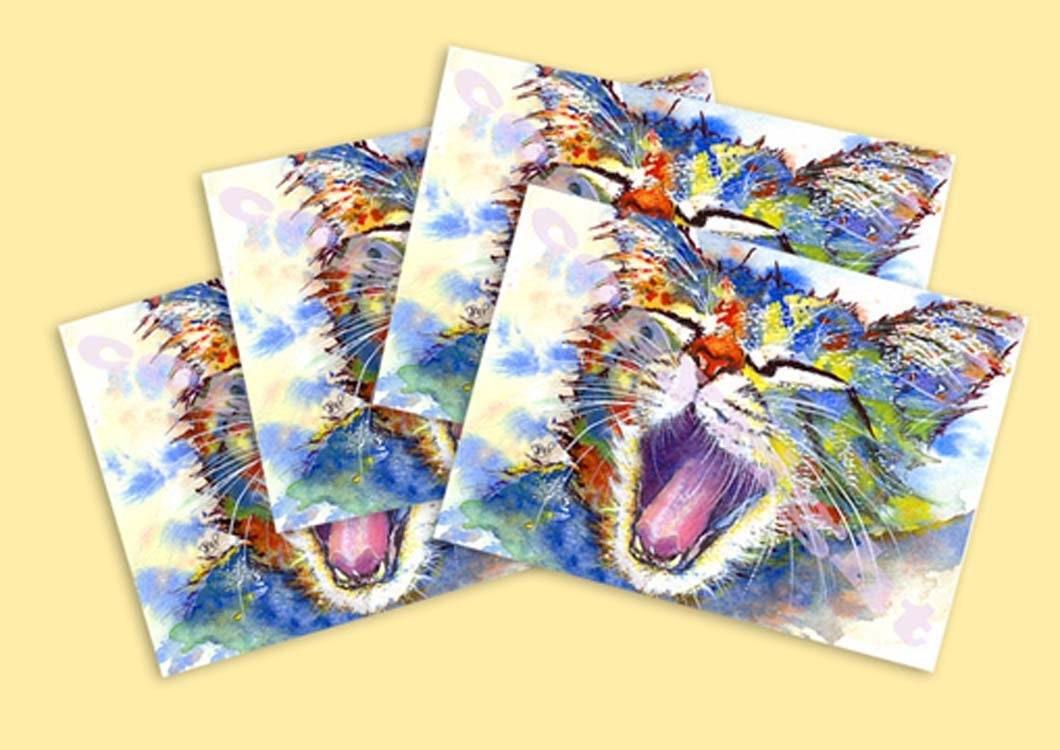 Set Of Four Greetings Cards From Original Watercolour Watercolor Cat
