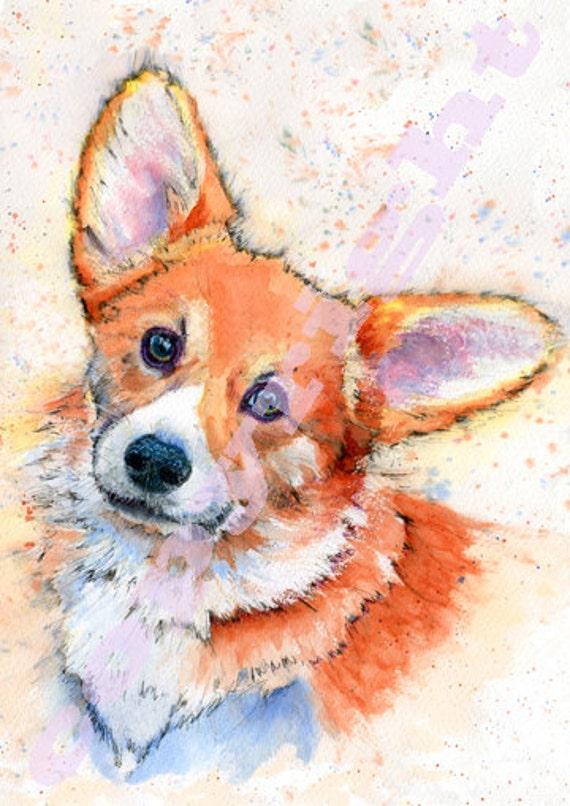 PEMBROKE CORGI PRINT of Original Watercolour Dog Painting Puppy Art Gift Illustration Portrait Wall Hanging Pet Memory by Josie P. JaPeyArt
