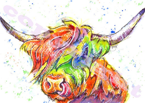 HIGHLAND Cow PRINT Picture Scottish Painting Scotland Cattle Picture Art of Original Watercolour Watercolor Painting by Josie P.