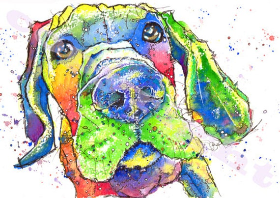 Great DANE PRINT Picture of Original Watercolour Painting Watercolor Hound Dog Painting Puppy Animal Artwork Gift Art by Josie P.