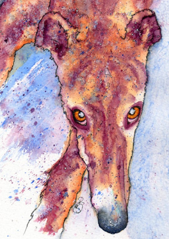 GREYHOUND Print of Original Watercolour Lurcher Dog Painting by Josie P.