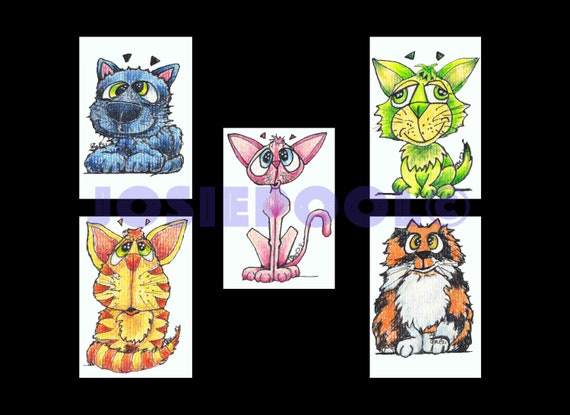 Set of 5 ACEO CAT Cartoon Prints. Ready Mounted. Art Gift, Animal Lover, Illustrations, Cat Portraits, Wall Hanging, Picture.
