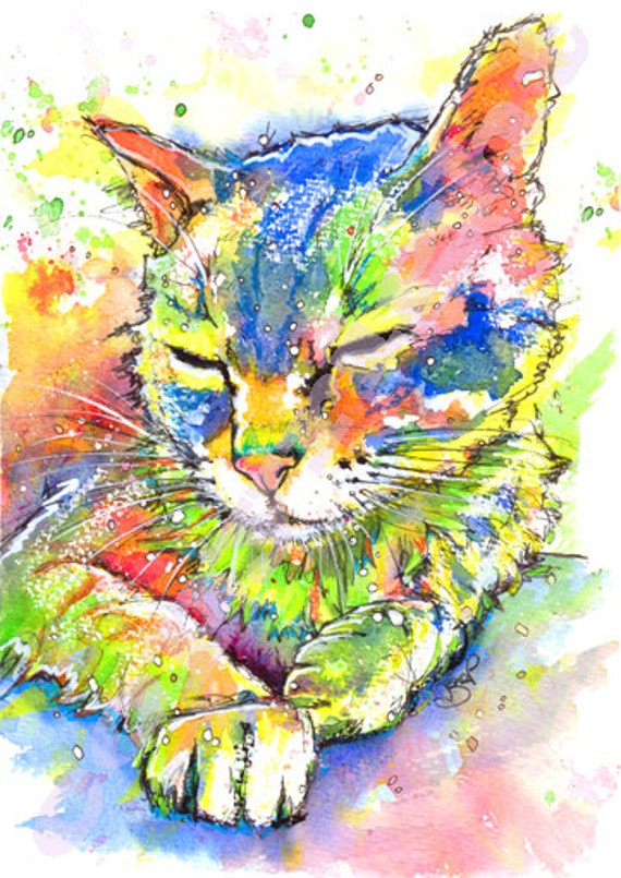 CAT PRINT Kitten Cats Fabulous Print of Original Watercolour Picture Art Watercolor Painting by Josie P.