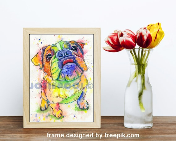 BULLDOG PRINT of Original Watercolour Dog Painting Puppy Art Gift Illustration Portrait Wall Hanging Pet Memory by Josie P. JaPeyArt