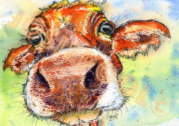 JERSEY COW PRINT Picture Scottish Painting Cattle Print of Original Watercolour Cow Painting Watercolor Art by Josie P.
