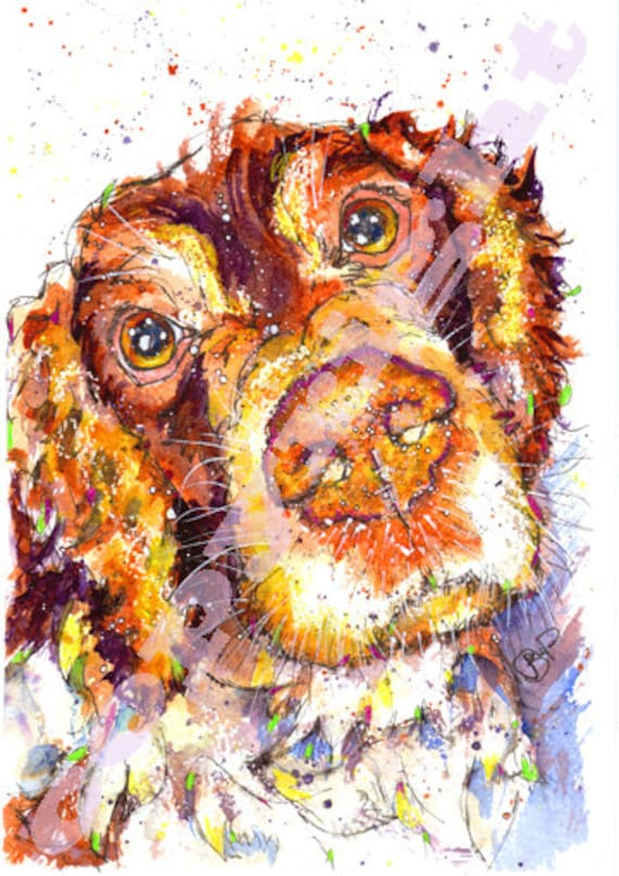 Springer SPANIEL PRINT Picture Dog Painting Hound Puppy of Original Watercolour Picture Painting Art by Josie P.