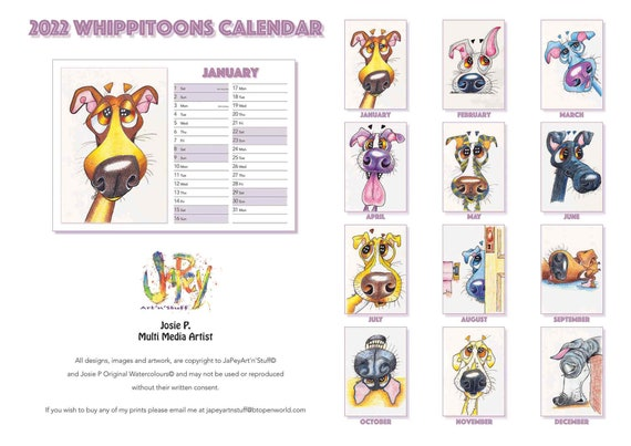 WHIPPET CALENDAR 2022 A4 Cartoon Prints Art Gift Dog Lover Christmas - UK only