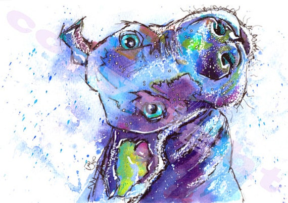 Weimaraner DOG PRINT of Original Watercolour Painting Watercolor Hound Picture Artwork Gift Art by Josie P.