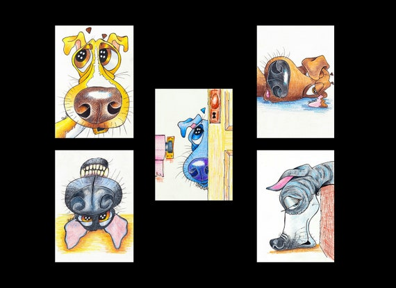 Set of 5 WHIPPET Cartoon Prints. Ready Mounted. Art Gift, Animal Lover, Illustrations, Dog Portraits, Wall Hanging, Christmas Picture.