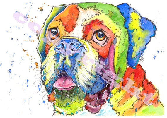 BOXER Dog PRINT of Original Watercolour Watercolor Painting by Josie P