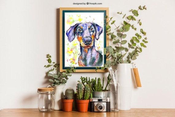 DOBERMAN PRINT of Original Watercolour Dog Painting Puppy Art Gift Illustration Portrait Wall Hanging Pet Memory by Josie P. JaPeyArt
