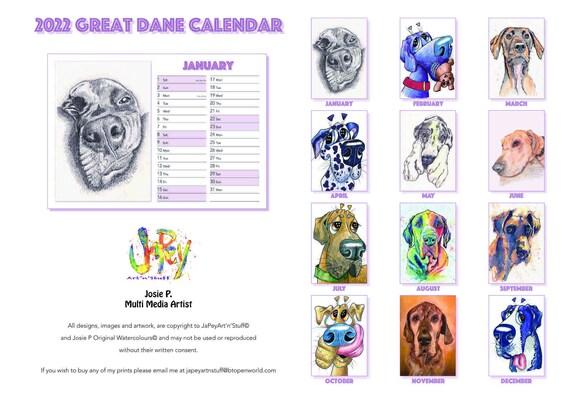 GREAT DANE Calendar 2022 A4 Cartoon Prints Dog Paintings Art Gift Dog Lover Christmas - UK only