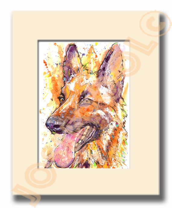 GERMAN SHEPHERD PRINT of Watercolour Painting, Mothers Day Gift, Animal Lover Illustration, Alsatian Art, Pet Memory, Dog Portrait Picture