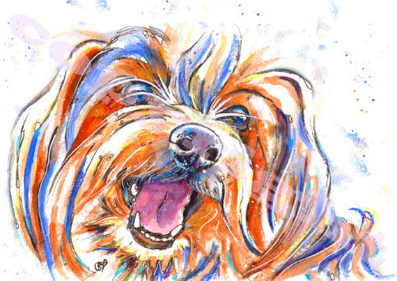 YORKSHIRE TERRIER PRINT of Original Watercolour Painting Yorkie Watercolor Dog Puppy Picture Artwork Gift Art by Josie P