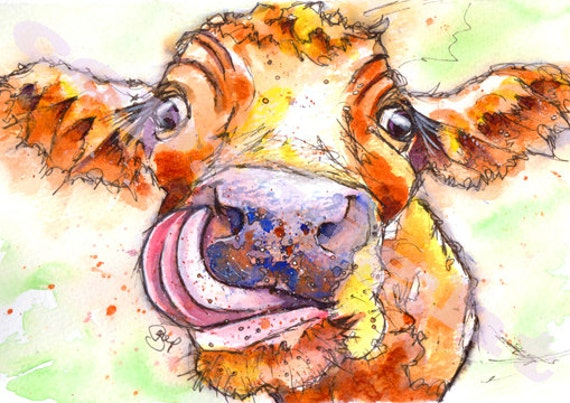 Jersey COW PRINT Picture Cattle Painting  of Original Watercolour Painting Watercolor Painting Gift Art by Josie P.