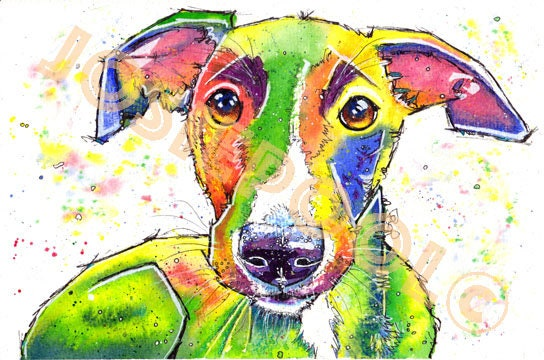 WHIPPET PRINT from Original Watercolour Dog Sighthound Painting by Josie P