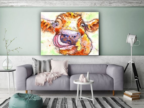 Jersey COW POSTER Print Picture of Original Watercolour Painting Watercolor Cattle Gift Art by Josie P.