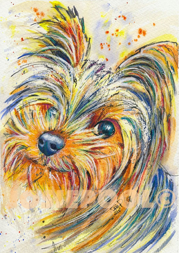 YORKSHIRE TERRIER PRINT of Original Watercolour Painting Yorkie Watercolor Dog Picture Gift Art by Josie P