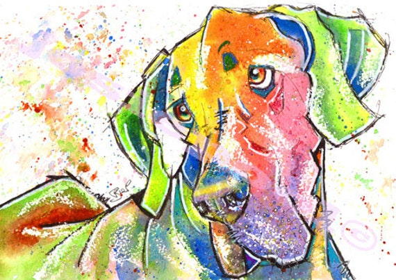 Great DANE PRINT Picture of Original Watercolour Painting Hound Dog Puppy Animal Artwork Gift Art by Josie P.
