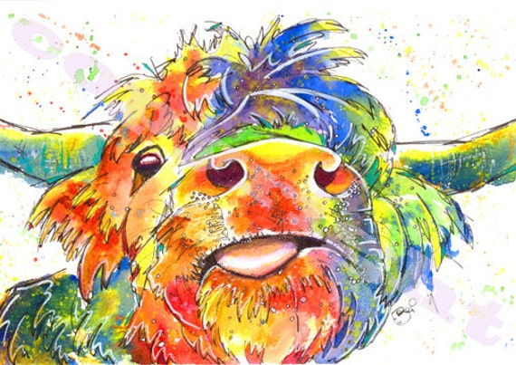 Highland COW PRINT Picture Scottish Painting Scotland Print of Original Watercolour Painting Watercolor Art by Josie P.