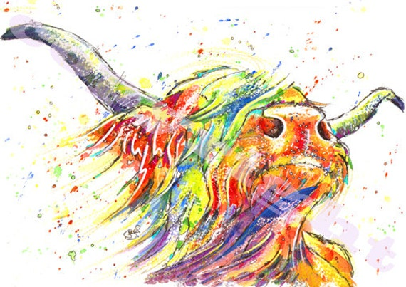 PRINT of Original Watercolour HIGHLAND Cow Painting Picture by Josie P